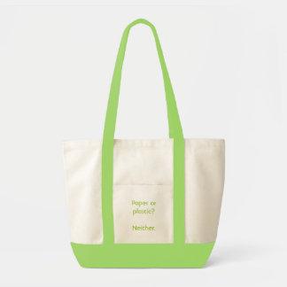 Paper or plastic? impulse tote bag