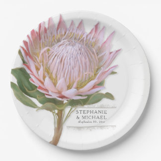 Paper Party Modern Floral Pink Protea Flower 9 Inch Paper Plate