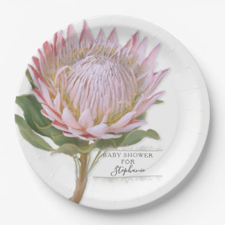 Paper Party Modern Floral Pink Protea Flower Paper Plate