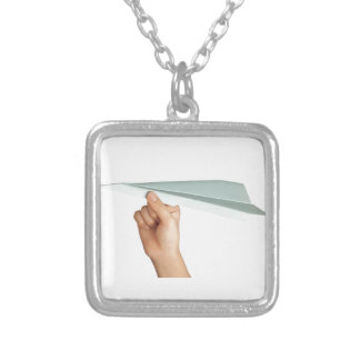 Paper plane silver plated necklace