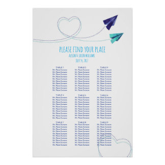 Paper plane watercolor dinner seating chart poster