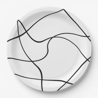 """Paper plate  """"Abstract lines"""" - Black and white"""