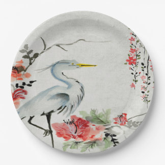 Paper plate   Asian crane flower pink 9 Inch Paper Plate