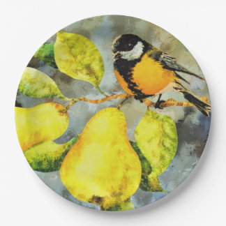 Paper plate   bird in a pear tree 9 inch paper plate