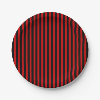 Paper plate black and red stripes