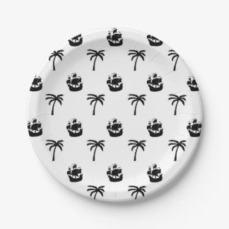 Paper plate black pirate ships & palm trees