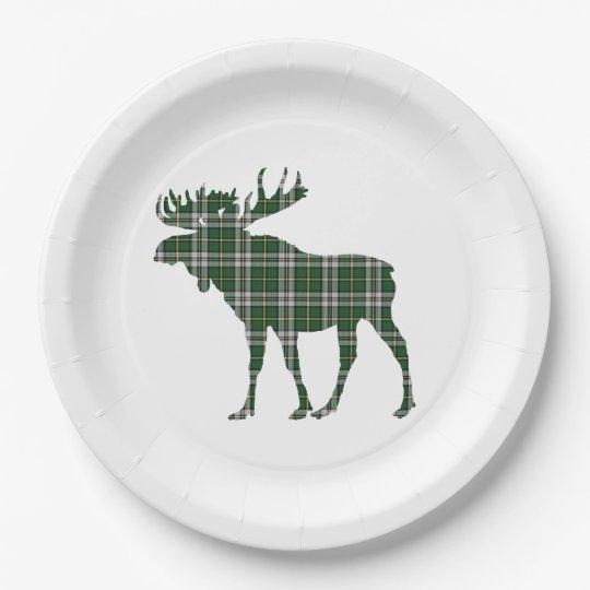 Paper plate  Cape Breton tartan moose 9 Inch Paper Plate