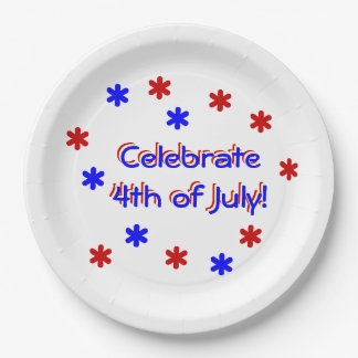 Paper Plate - Celebrate 4th of July 9 Inch Paper Plate