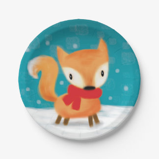 ♥ PAPER PLATE ♥ cute christmas fox in snow teal