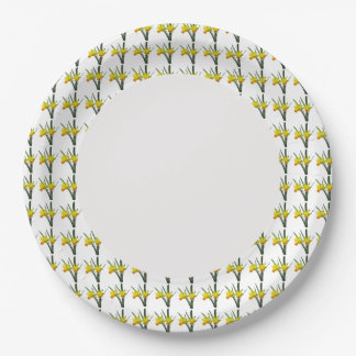 Paper Plate - Daffodils on Rim