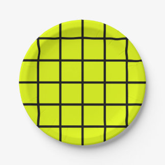 "Paper plate - Design :  ""Grid"" on green."