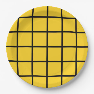 "Paper plate - Design : ""Grid"" on yellow."
