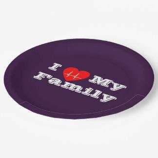Paper plate I love my Family Custom heart