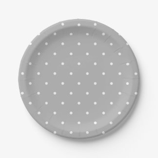 Paper plate in grey with white polka dots