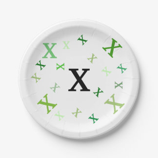 Paper Plate - Jumbled Letters in Greens 7 Inch Paper Plate