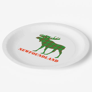 Paper plate Newfoundland Tartan  moose