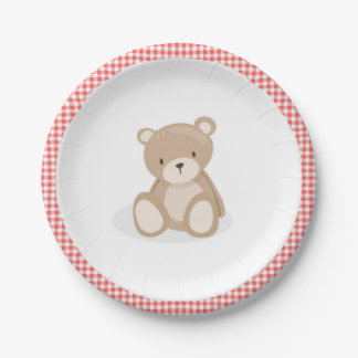 Paper Plate Picnic Teddy Bear Red Gingham Birthday