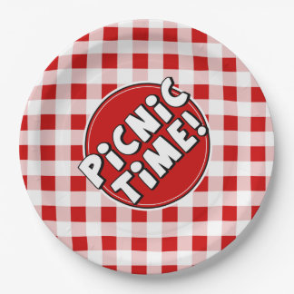 Paper Plate Picnic Time Red Gingham Pattern