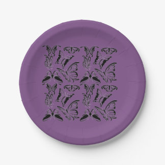 Paper plate Purple with butterflies