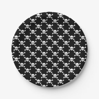 Paper plate white skull & crossbones on black 7 inch paper plate