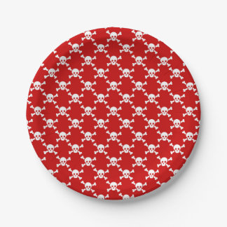 Paper plate white skull & crossbones on red
