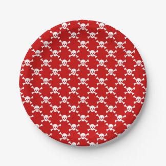 Paper plate white skull & crossbones on red 7 inch paper plate
