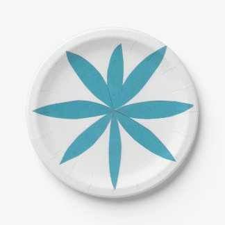 Paper Plate with a Turquoise Star 7 Inch Paper Plate