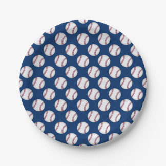 Paper plate with baseballs on a blue background