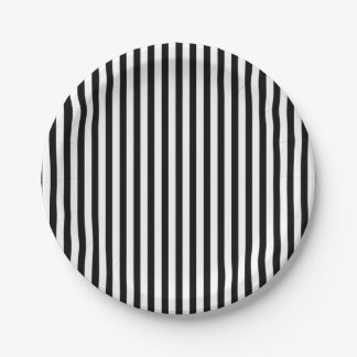 Paper plate with black and white stripes