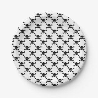 Paper plate with black skulls and cross bones 7 inch paper plate