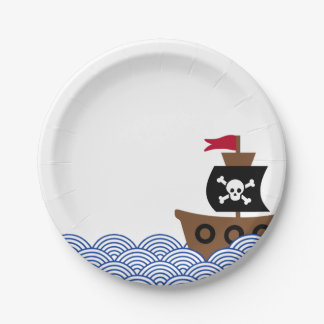 Paper plate with pirate ship & blue & white circle
