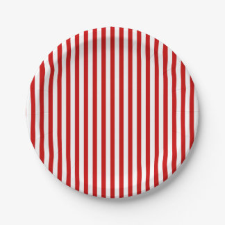 Paper plate with red and white stripes