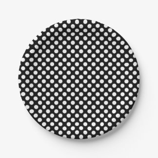 Paper plate with white polka dots on black