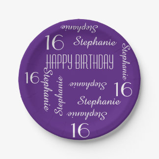 Paper Plates, 16th Birthday Party Repeating Names Paper Plate