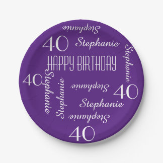 Paper Plates, 40th Birthday Party Repeating Names Paper Plate