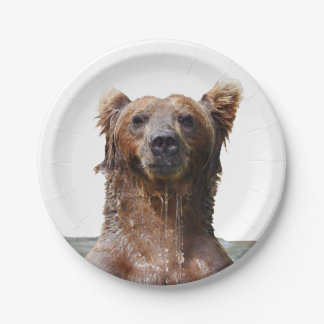 """Paper Plates 7"""" w/ grizzly bear"""