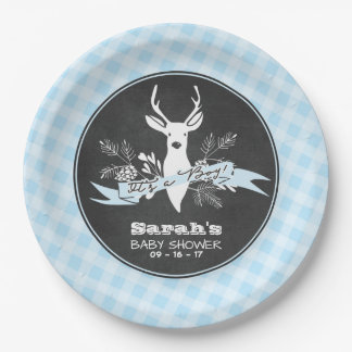 Paper Plates - Blue Woodland Baby Shower