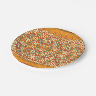 PAPER PLATES Ikat border look 7 Inch Paper Plate