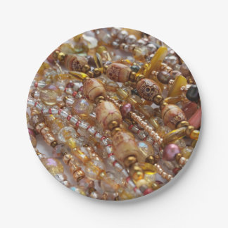 Paper Plates- Natural Earthtones Beads Print Paper Plate