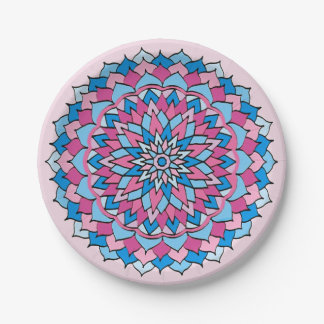 Paper Plates Pink and Blue Mandala