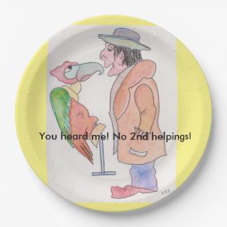 """""""Paper plates with man and parrot 9 Inch Paper Plate"""