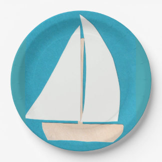 Paper Plates with Sailboat Design 9 Inch Paper Plate