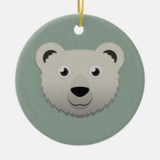Paper Polar Bear Ceramic Ornament