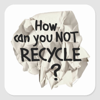 Paper Recycling Square Sticker
