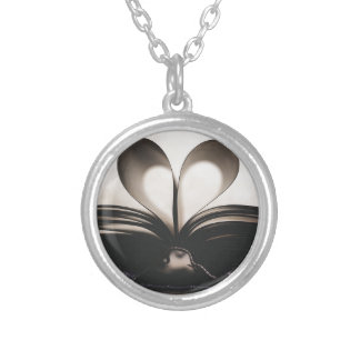 Paper Romance Symbol Valentine Love Book Day Old Silver Plated Necklace