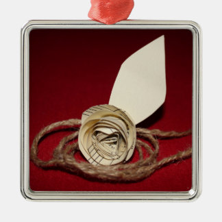 Paper Rose with Twine on Red Background2 Silver-Colored Square Decoration
