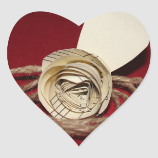 Paper Rose with Twine on Red Background Photo Heart Sticker