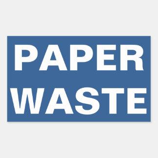 Paper Waste Sign Rectangular Sticker