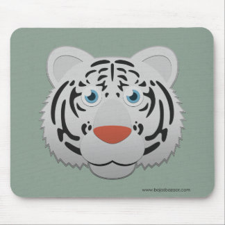 Paper White Bengal Tiger Mousepads