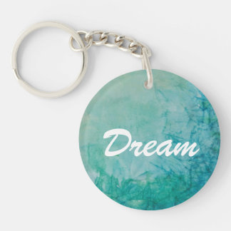 Paper With Blue, Green, And Black Paint Abstract Double-Sided Round Acrylic Key Ring